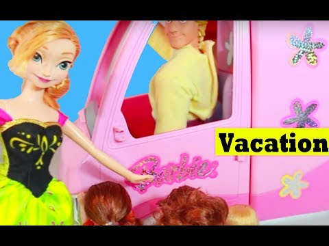 FROZEN Summer Countdown Day 1 Barbie Motorhome Bus RV Camping Vacation Toby AllToyCollector